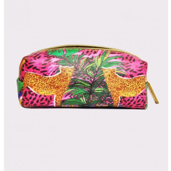 "Vegan Leather Mini Make-up Bag – ""Hot Cheetah"""