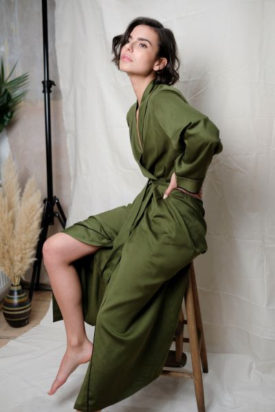 Kensington Olive Green Long Dressing Gown