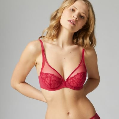 Delice Full Cup Plunge Bra – Cranberry
